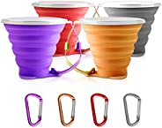 SENHAI 4 pcs Collapsible Travel Cup with Lid, Portable Silicone Multi-Function Retractable Cup for Hiking Camp