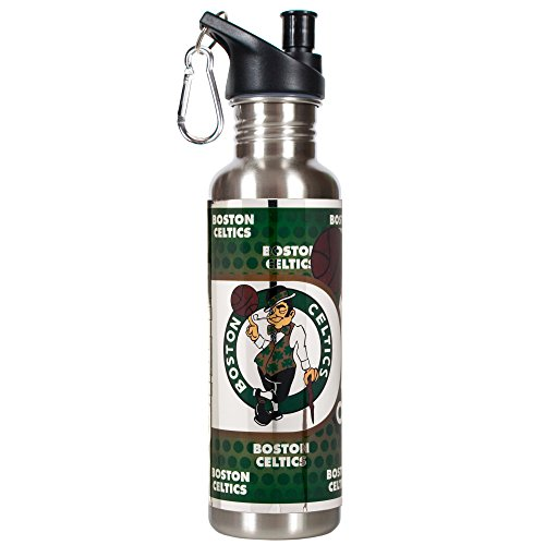 Great American Products NBA Boston Celtics Steel Water Bottle with Metallic Graphics, 26 oz, Silver by Great American Products