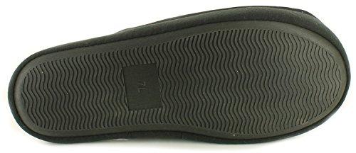 Neu Herren/Herren Schwarz/Grau Maultier Hausschuhe Mit Guinness Design Vorne Schwarz/grau - UK GRÖßE 40.5-44.5