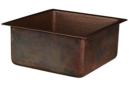Premier Copper Products BS16DB3 16-Inch Square Hammered Copper Bar/Prep Sink with 3.5-Inch Drain Opening