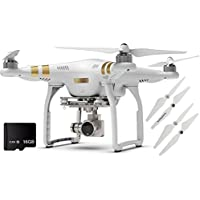 Phantom 3 Professional Quadcopter 4K UHD Video Camera Drone (Official Refurbished) + 2 Propeller Sets + 16GB Micro SD