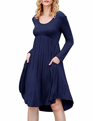 Sherosa Women's Pockets High Low Long Sleeve Dresses Casual Pleated Loose Swing Dress (XL, Navy Blue)
