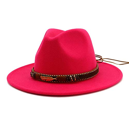 2b7a16fded6da Vim Tree Men Women Ethnic Felt Fedora Hat Wide Brim Panama Hats with Band  at Amazon Women s Clothing store