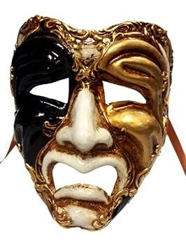 Auténtico cara triste teatro Volto Full Face Masquerade máscara veneciana