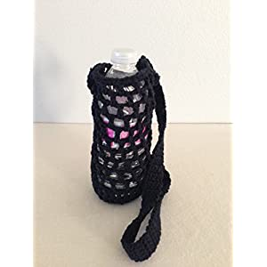 Crochet water bottle carrier, crochet bottle holder in black