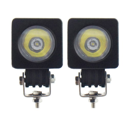 TMH 10w Cree LED Work Light Square Shape 30 Degree Spot Beam Lamp Pack of 2 (Spot Degree 10 Led)
