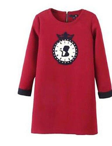 PU&PU Robe Aux femmes Ample Simple,Imprimé Col Arrondi Au dessus du genou Polyester , red-one-size , red-one-size
