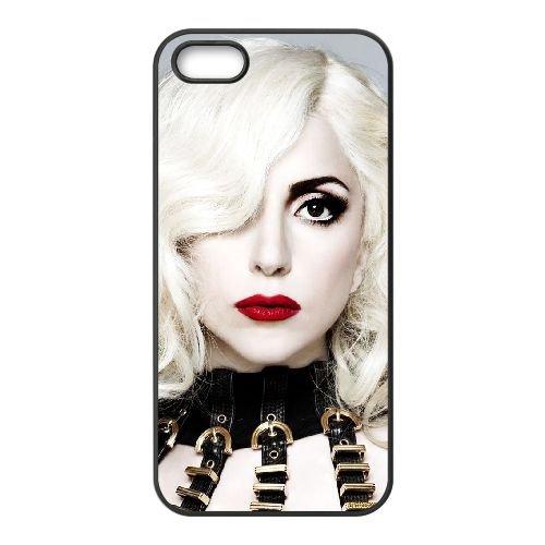 Lady Gaga 005 coque iPhone 5 5S cellulaire cas coque de téléphone cas téléphone cellulaire noir couvercle EOKXLLNCD25409