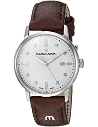 Women's 'Eliros' Quartz Stainless Steel and Leather Casual Watch, Color:Brown (Model: EL1094-SS001-150-1)