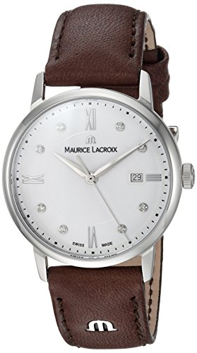 Maurice Lacroix Women's 'Eliros' Quartz Stainless Steel and Leather Casual Watch, Color:Brown (Model: EL1094-SS001-150-1)