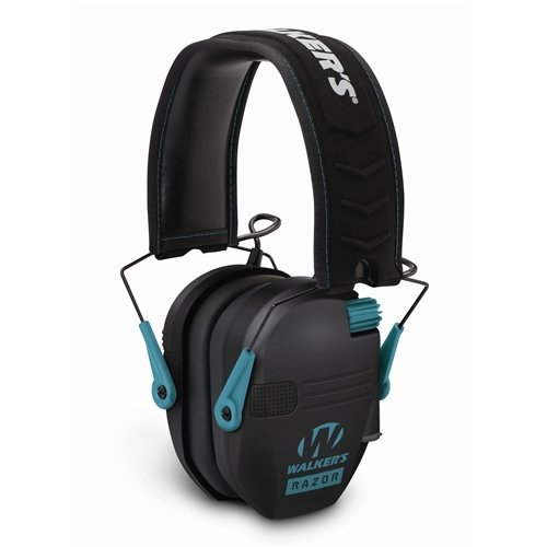 (GSM Outdoors GWP-RSEM-TL Walkers Game Ear Razor Slim Electronic Muff, Teal)