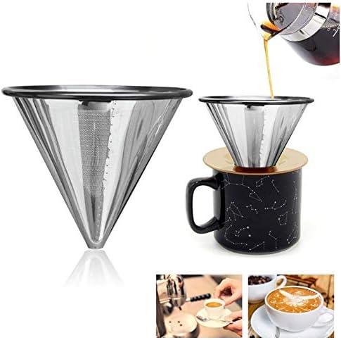 V60 Filtro, V60 filtros de café reutilizables de acero inoxidable ...