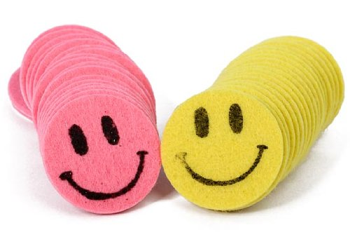 Fun Self Adhesive Dimensional Felt Happy Face Stickers in Pink and Yellow for Crafting and Embellishing- Package of (Dimensional Word Stickers)