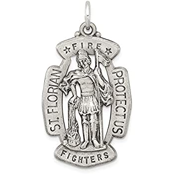 New 1 1//8in  0.925 Sterling Silver Saint St Florian Firefigthers Pendant Charm