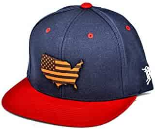 48b5d8cdf71a8 Branded Bills  The Patriot  Leather Patch Classic Snapback Hat - OSFA Navy