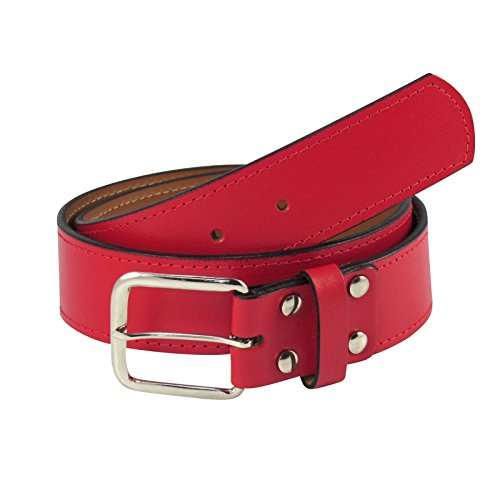 TCK Leather Belts Sized 30-44 - Baseball, Fastpitch, Softball - NEW (Scarlet Red, Waist 42)
