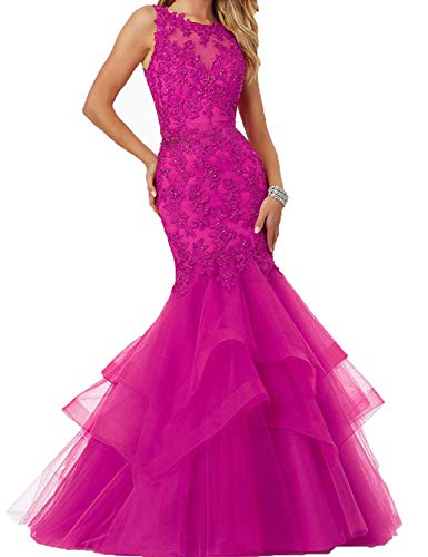 (Long Sleeveless Evening Party Dress Mermaid Prom Dress Appliques Size 8 Fuchsia)