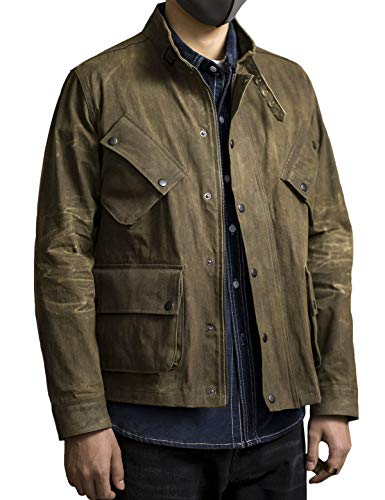 MADEN Mens Waxed Canvas Jacket Military Field Stand Collar Jacket Multi Pocket Dark Green