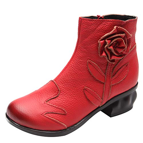 Mordenmiss Women's Handmade Rose Boots Vintage Floral Chunky Oxford Bootie 39 Fleece Red