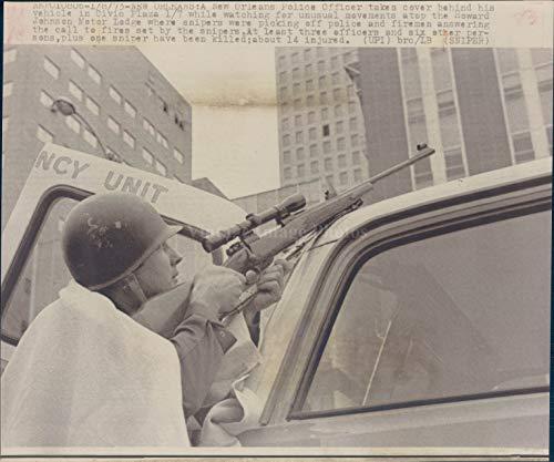 Vintage Photos 1973 Photo Police Officer New Orleans Vehicle Civic Plaza Howard Johnson Ledge