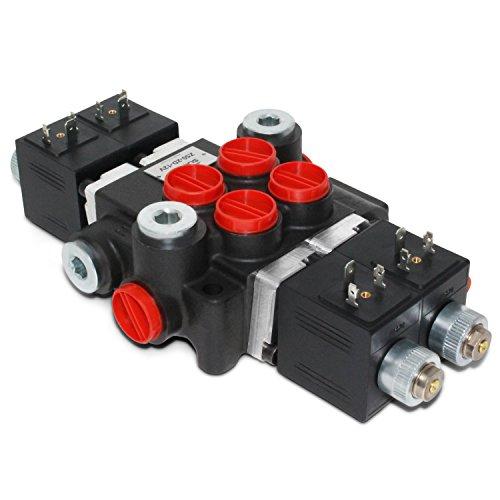 Hydraulic Monoblock Solenoid Directional Control Valve, 2 Spool, 13 GPM, 12V DC ()
