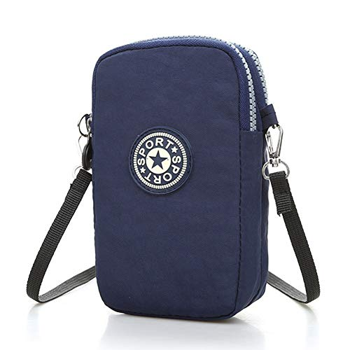 2-Layer Zipper Cellphone Pouch Small Nylon Crossbody Shoulder Bag Sport Running Arm Wristlet Purse