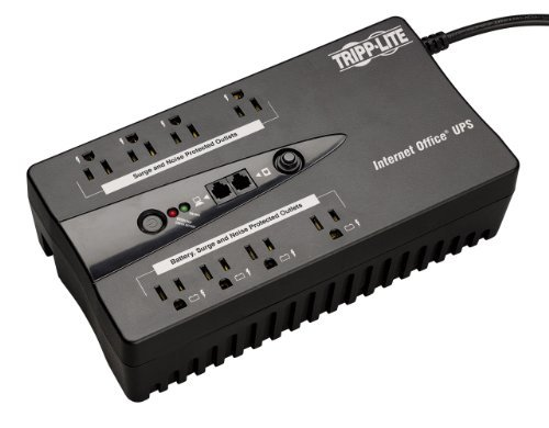 Tripp Lite INTERNET350U Internet Office 350 VA 180 Watts 6 Outlets Standby UPS for PCs 3 350VA ultra-compact 120V standby UPS 3 UPS battery supported outlets, 3 surge-only outlets, The INTERNET350U's load cannot exceed 180W USB port, TEL/DSL protection, Wall mountable, 99% efficient