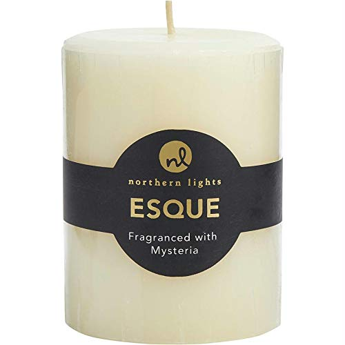 - Mysteria Esque One 3x4 Inch Pillar Essential Blends Candle. Burns Approx. 80 Hrs.