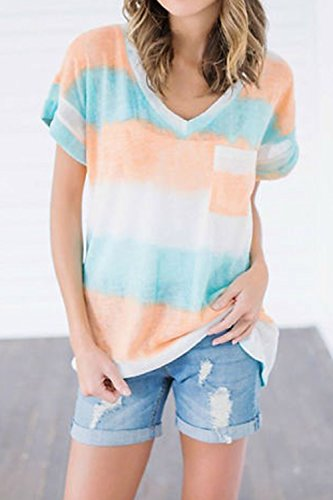 Las Mujeres Elegantes Rayas Colorblock Patchwork Top De Manga Corta T - Shirt Blusas Orange
