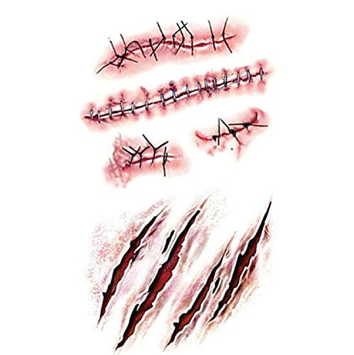 Sweetdreams HOT! 1Pcs Halloween Zombie Scar Tattoos Fake Scars Bloody Costume Makeup Halloween Decoration Horror Wound Scary Blood Injury Sticker