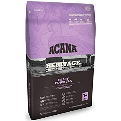 Acana Heritage Grain-Free Dog Food, 25 Pounds, Feast Formula with Duck Turkey and Quail