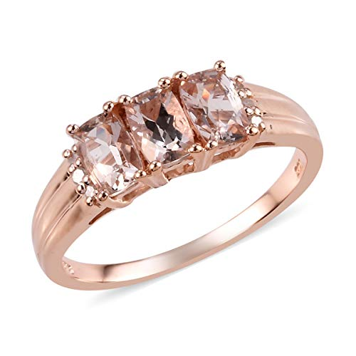 Morganite Diamond Ring 925 Sterling Silver Vermeil Rose Gold Jewelry for Women Size 7 Ct 1.2 (7 Carat White Gold Wedding Rings)