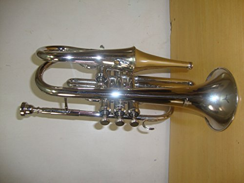 NEW SILVER Bb ECHO CORNET WITH FREE HARD CASE+MOUTHPIECE by SAI MUSICAL