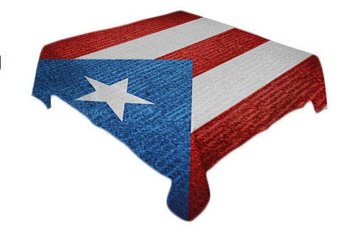 Puerto Rico Outdoor Tablecloth Stripe Style Rows Pattern Grunge Arrangement Patriot Flag Blue Vermilion and White Polyester tablecloths Rectangle Tablecloth 60 by 84 inch