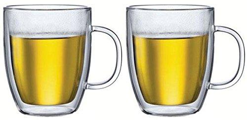 BODUM Bistro Transparent Cup/Mug–Cups & Mugs (Set, 0.48litres, Transparent, Glass, for 2People, 136mm) 10606-10