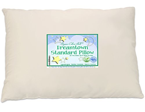 Kids Pillow (Dreamtown Kids Standard Size Pillow with Organic Cotton Shell 20x26 Tan, Stuffed To Be Slim For Kids And Stomach Sleepers, Made In USA)