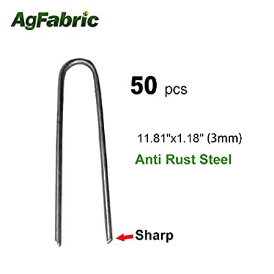 "Agfabric 50PACK 11.81"" 9Guage Garden Landscape Staples Stakes Pins,Weed Barrier Fabric Ground Cover Soaker Hose Lawn Drippers Irrigation Tubing Wireless Invisible Dog Fence"