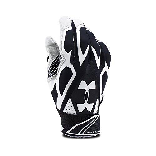 Under Armour Men's Motive III Batting Gloves, Black/White, Medium