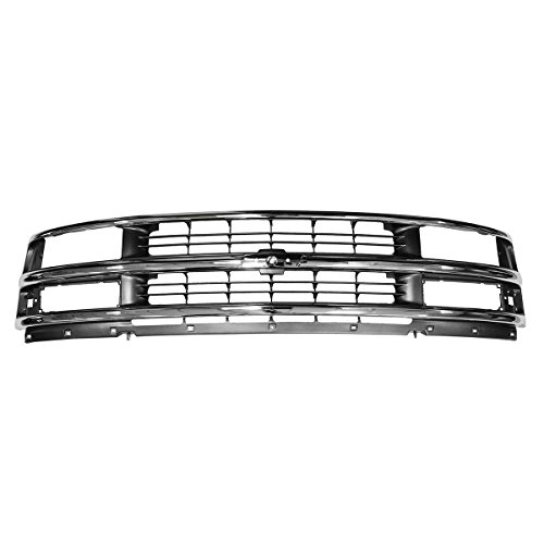 Grille Grill Chrome & Argent Gray for 96-02 Chevy Express 1500 2500 3500 Van Chrome Argent Grille Grill