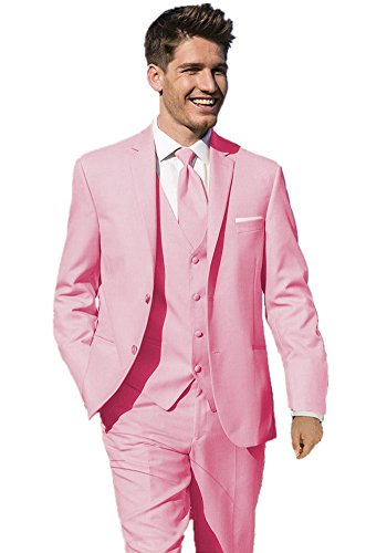 Pink Tuxedo - MYS Men's Custom Made Pink Bridegroom Wedding Tuxedo Suit Pants Vest Tie Set Size 44R