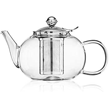 Nest Above Glass Teapot Kettle with Stainless Steel Infuser - Stovetop Safe - Blooming and Loose Leaf Tea - Large Capacity 1200ml/40oz