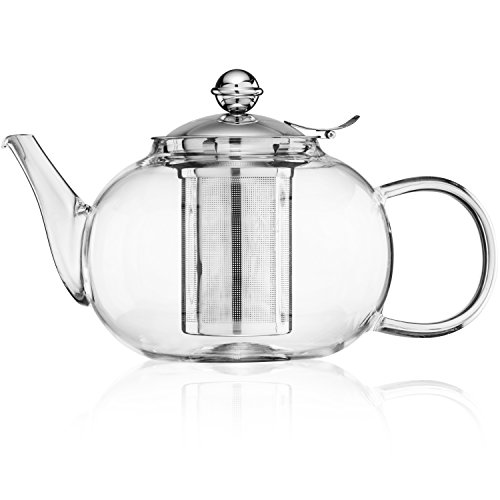 Glass Teapot Kettle with Stainless Steel Infuser - Stovetop Safe - Blooming and Loose Leaf Tea - Large Capacity 1200ml/40oz