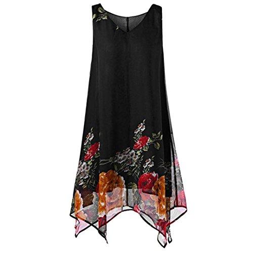 HUHU833 Manches Femme Print Hem en sans Mousseline Robe Femmes Mini Robe Floral Size irrgulire de Noir Plus Soie 7w7r4qHF