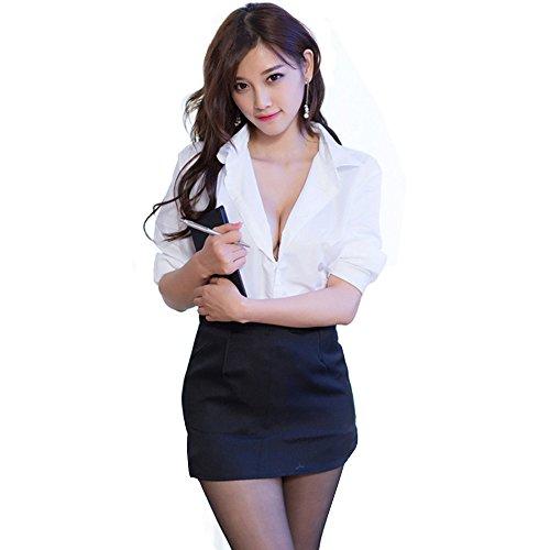 M_Eshop Sexy Bedroom Outfits Lovers Schoolgirls Cop Lingerie Erotic Bedroom Costume Teddy Set (Secretary(Fit for 126-143 lbs))]()