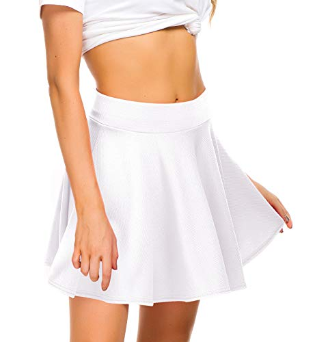 EXCHIC Women Stretch Waist Flared Mini Skater Skirt Casual Pleated Skirts (S, White) -