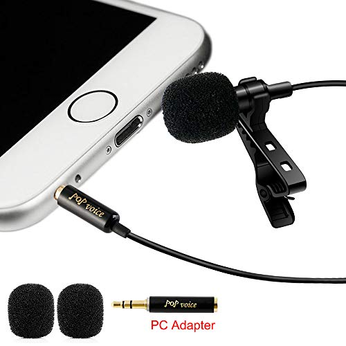 PoP Voice Professional #1 Best Lavalier Lapel Microphone Omnidirectional Condenser Mic for Apple IPhone Android & Windows Smartphones,Youtube,Interview,Studio,Video Recording,Noise Cancelling Mic