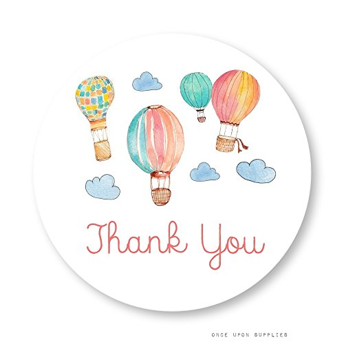 Hot Air Balloon Thank You Stickers, Mason Jar Labels, Party Favor Labels, Cupcake Toppers, by Once Upon Supplies, Birthday Party & Baby Shower Decoration, 2