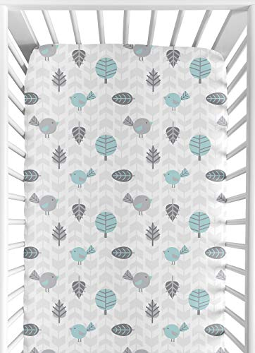 Sweet Jojo Designs Fitted Crib Sheet for Turquoise Blue and Gray Earth and Sky Baby/Toddler Bedding - Nature Print ()