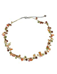 """NOVICA Dyed Freshwater Cultured Pearl Necklace with Carnelian and Peridot Stones, 16.25"""" 'Tropical Elite'"""
