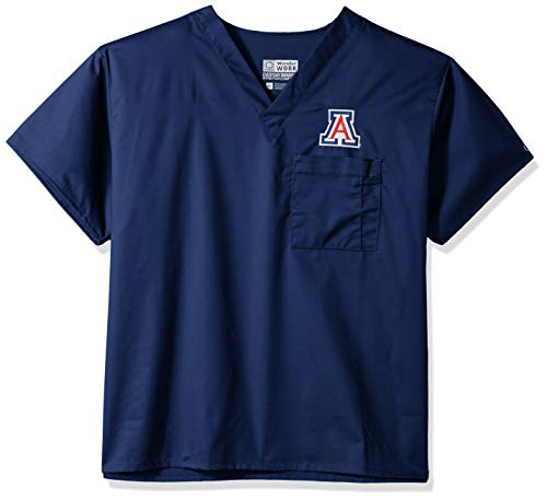 (WonderWink Unisex-Adult's University of Arizona V-Neck Top, Navy, LG)